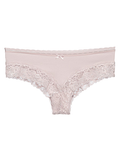 Miiyu Dusky Pink Organic cotton and lace Brazilian panty for women