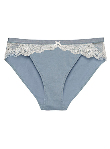 Miiyu Slate Blue Organic cotton lace accent bikini panty for women
