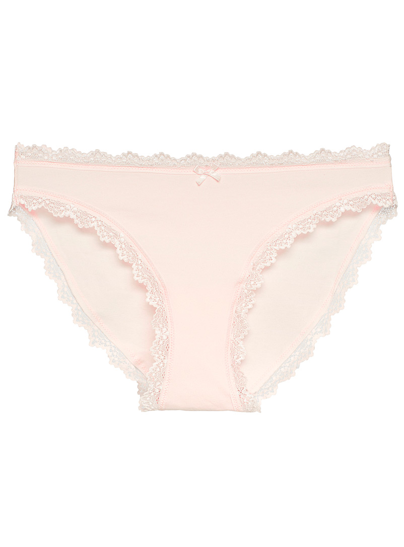 Miiyu Dusky Pink Organic cotton lace band bikini panty for women