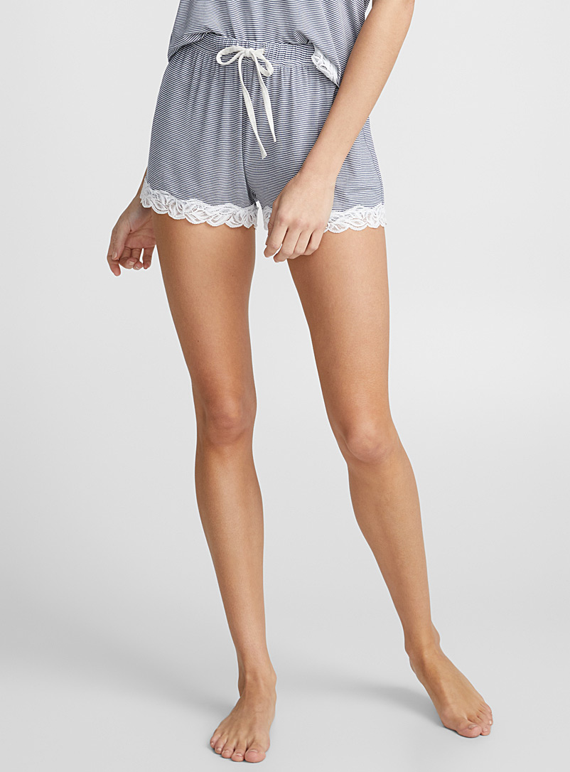 Scalloped lace boxer - Boxers - Marine Blue