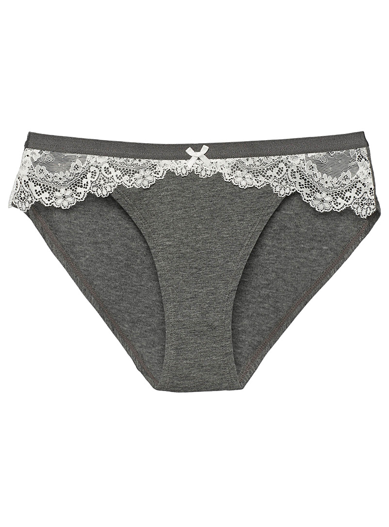 Organic cotton lace accent bikini panty - Buy More, Save More - Dark Grey