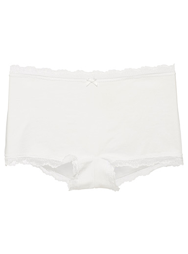 Miiyu White Organic cotton lace-trimmed boyshort for women