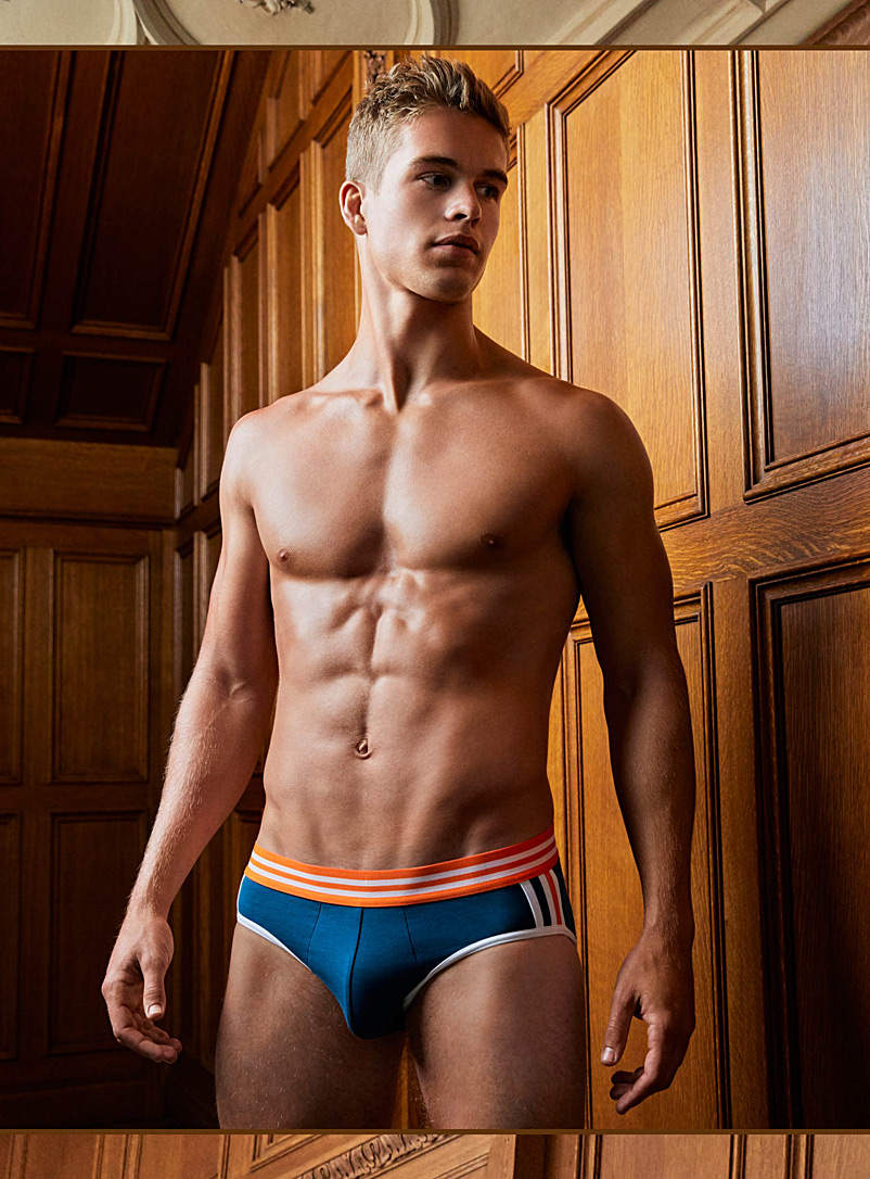 Athletic side stripe brief - Briefs - Slate Blue