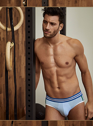 Striped band athletic brief