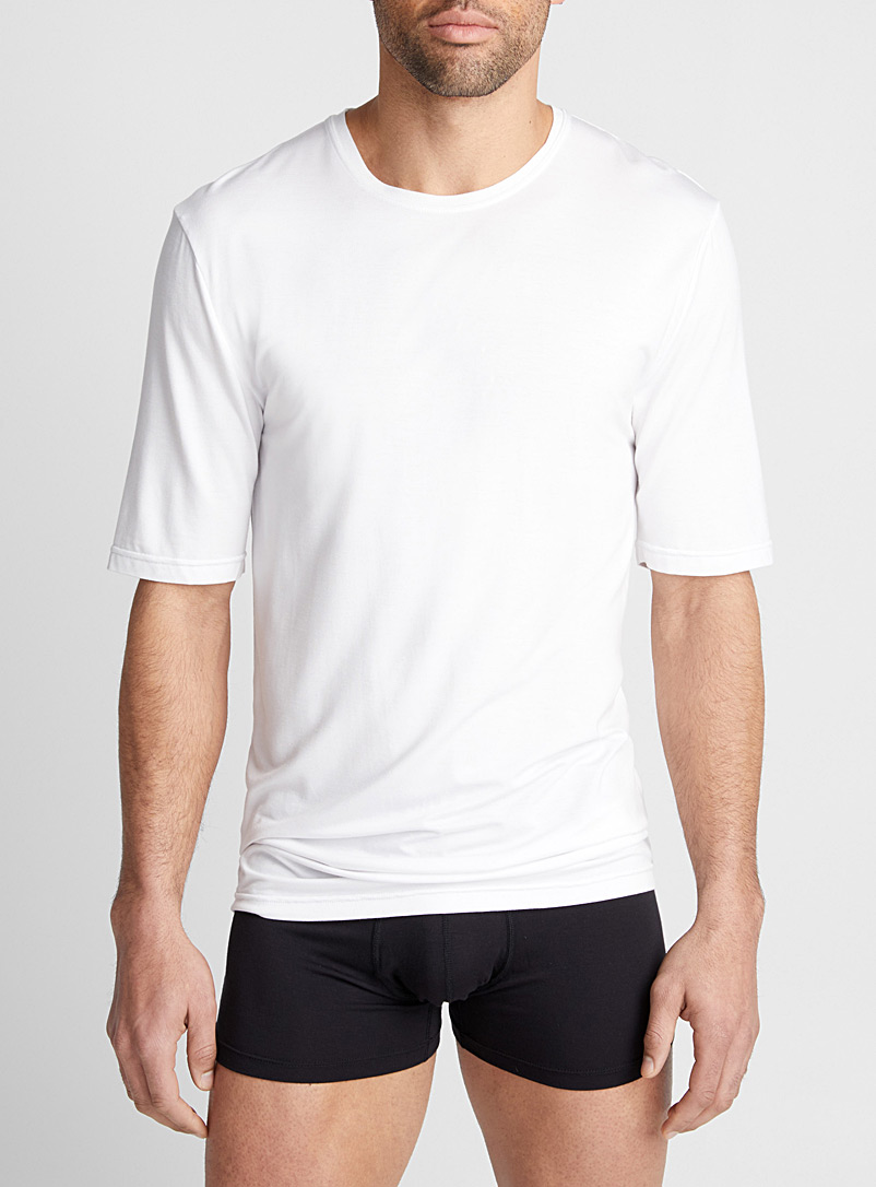 Bamboo crew-neck T-shirt - Tanks & T-shirts - White