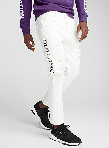 Signature patchwork white jean <br>Super skinny fit