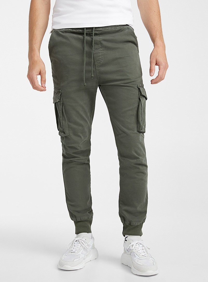 Le 31 Khaki Cargo joggers for men