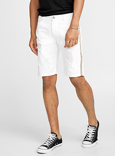 Striped band white denim Bermudas