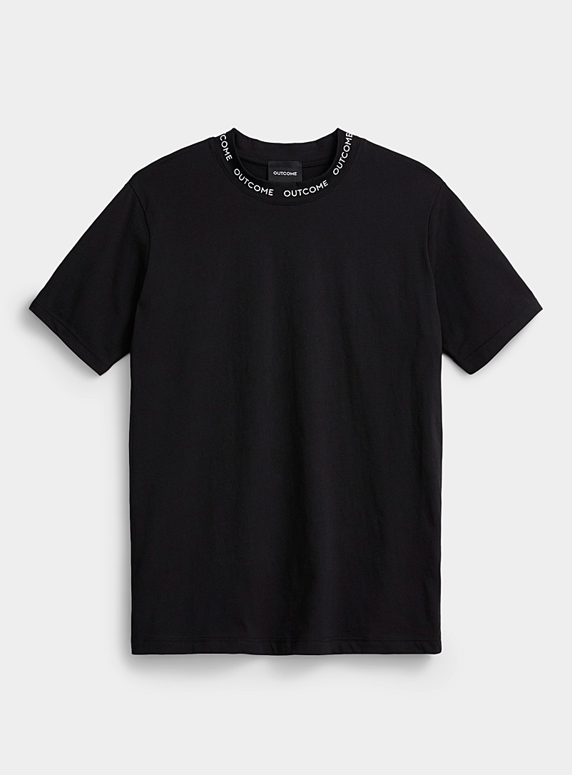 Outcome Black Logo collar T-shirt for men