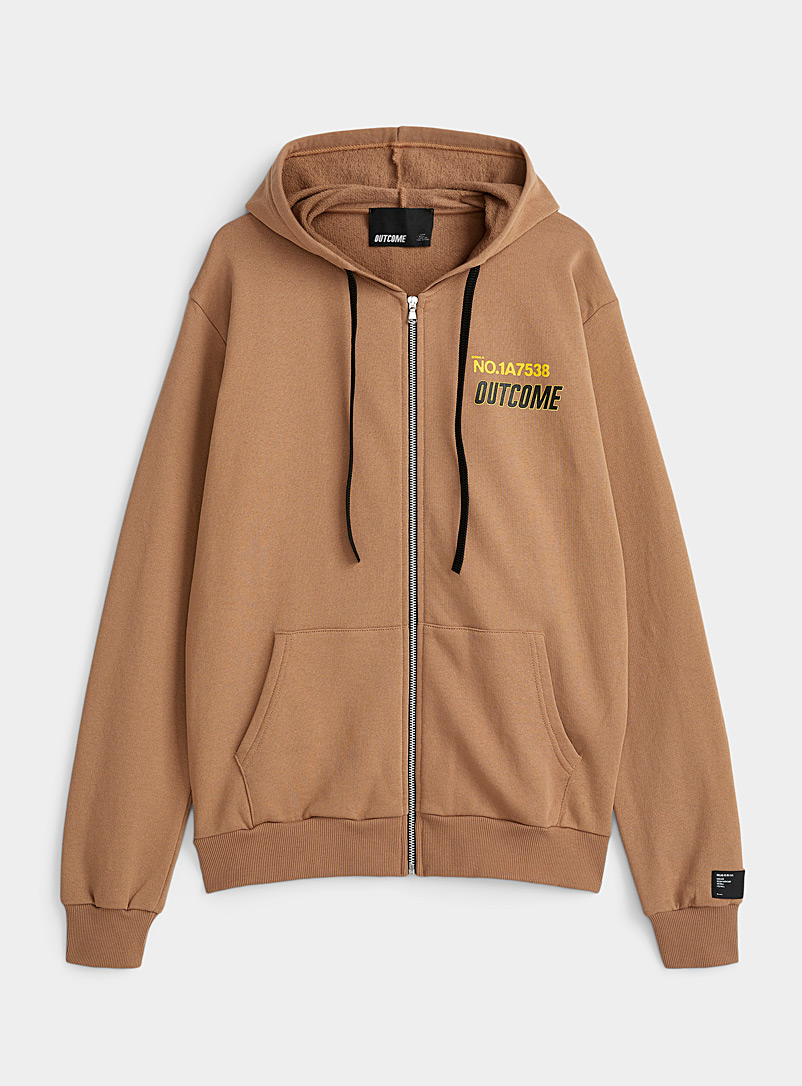 Outcome Fawn Safety-yellow script zip hoodie for men