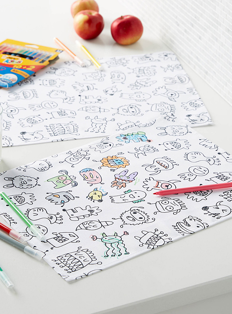 Simons Maison Black and White Colour-in fun monster placemats  Set of 2