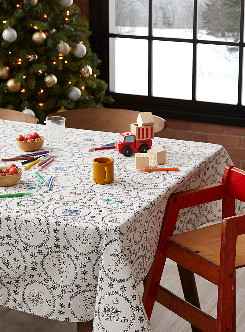 Simons Maison Black and White Advent calendar colour-in tablecloth