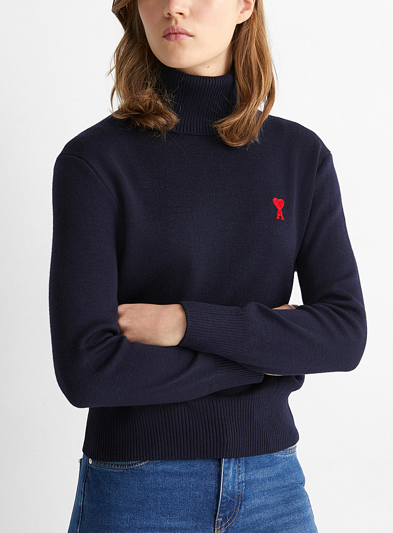 Ami Marine Blue Embroidered Ami de Coeur turtleneck sweater for women