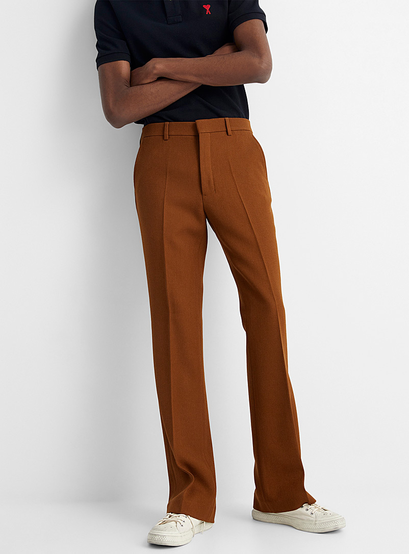 Ami Charcoal Virgin wool twill flared pant for men