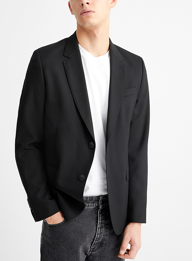 Ami Black Topstitched-collar twill jacket for men