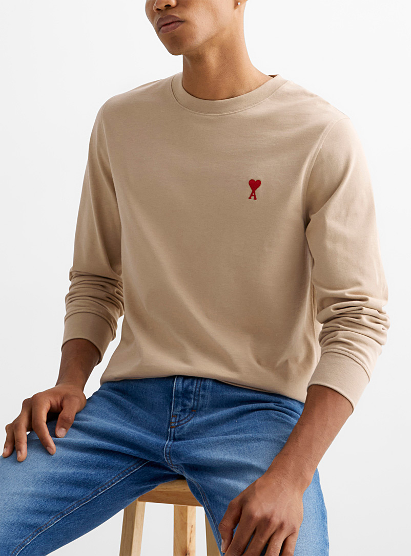 Ami Cream Beige Ami de Coeur long-sleeve embroidered T-shirt for men