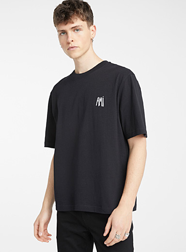 Ami Black Ami embroidered T-shirt for men