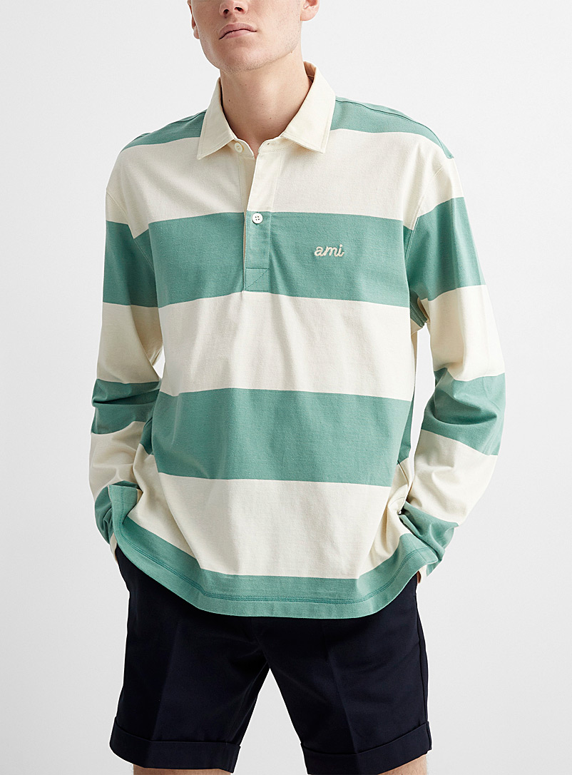 Ami Patterned Green Rugby stripe long-sleeve polo for men