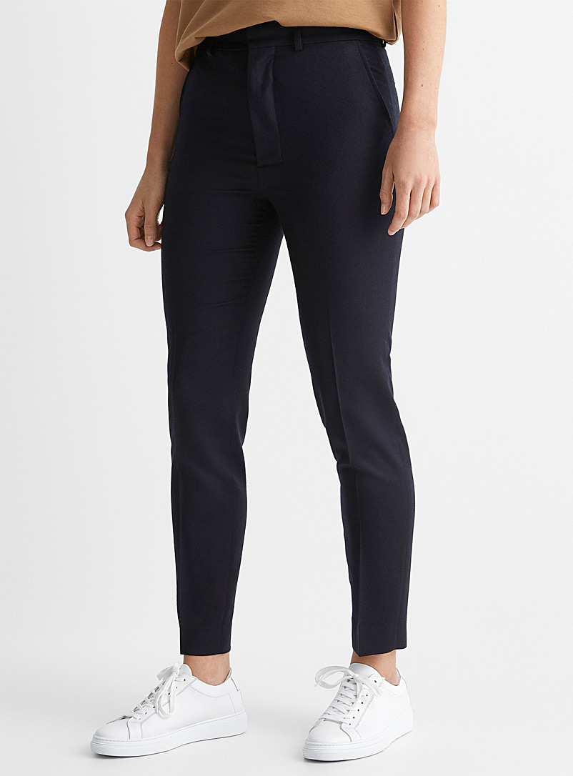 Ami Marine Blue Wool flannel cigarette pant for women