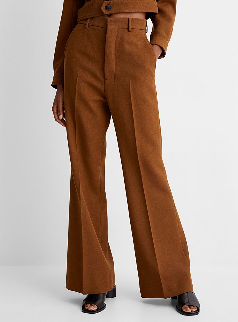 Ami Brown Flared pant for women