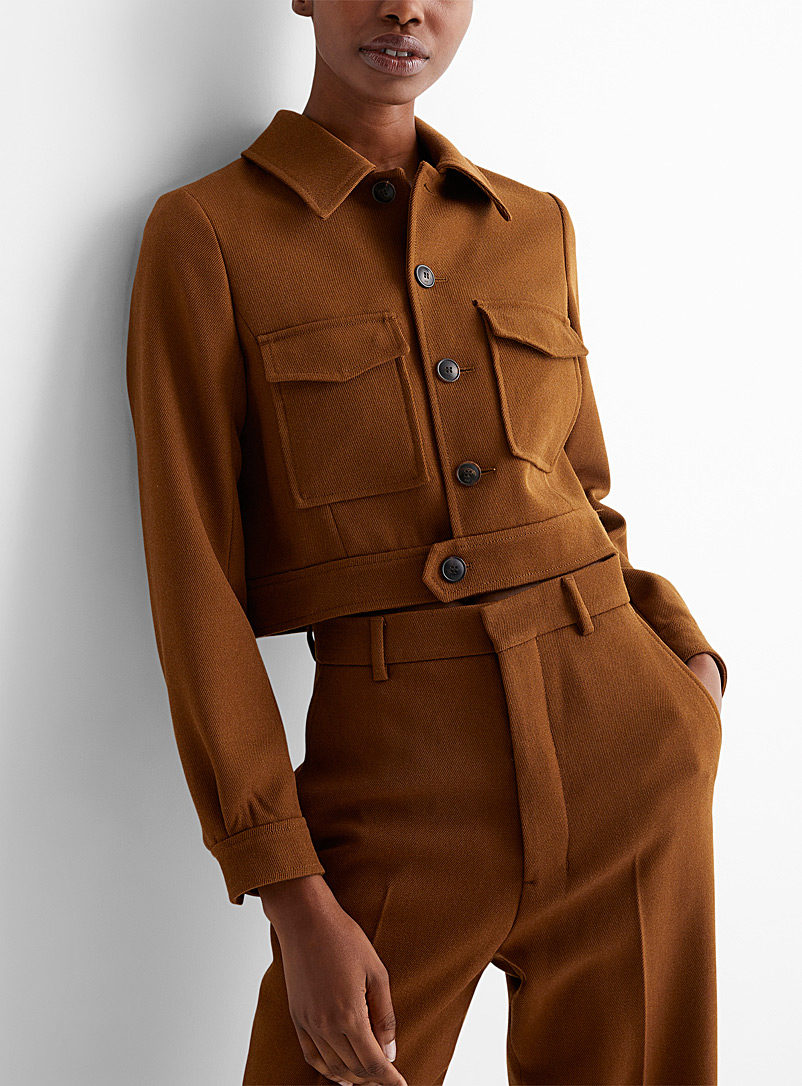 Ami Brown Patch pocket cropped jacket for women