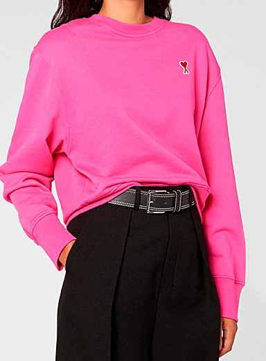 Ami Pink Ami de Coeur sweatshirt for women