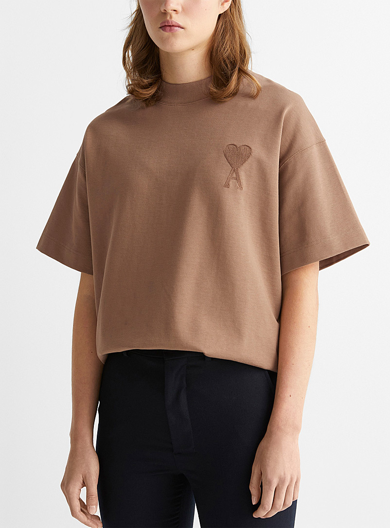 Ami Honey Ami de Coeur embroidered tone-on-tone T-shirt for women