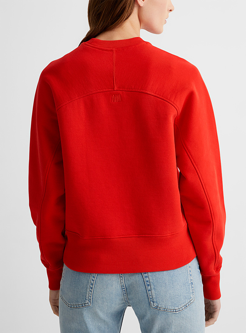Ami Red Tone-on-tone embroidered Ami de Coeur sweatshirt for women