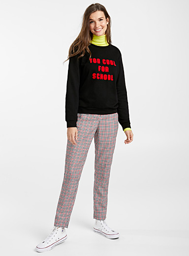 Black and red check pant