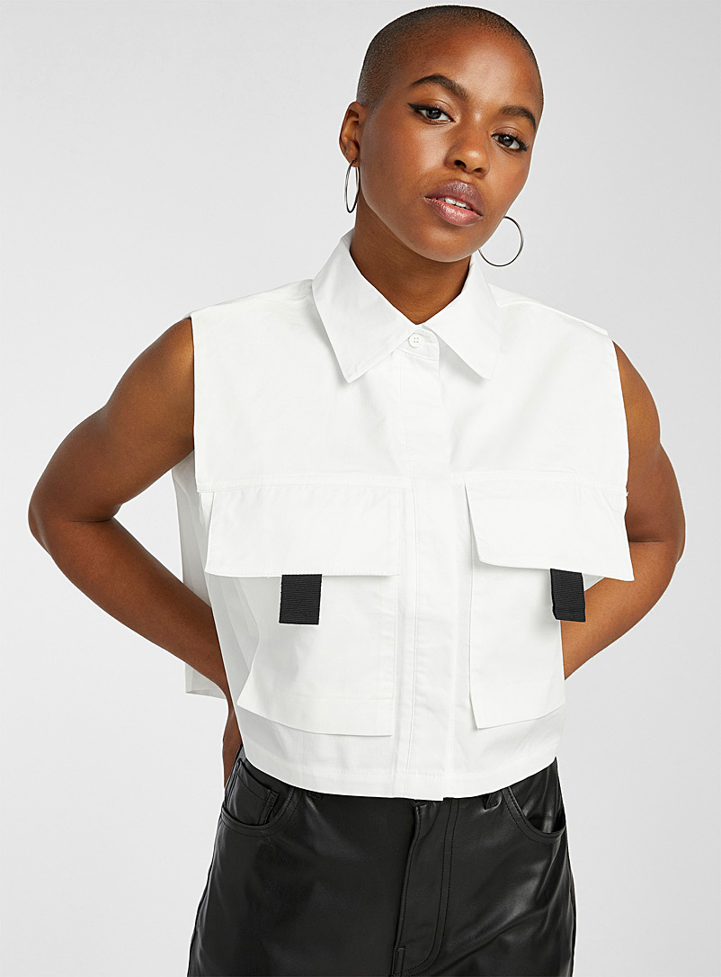 Twik White Sleeveless utility shirt for women