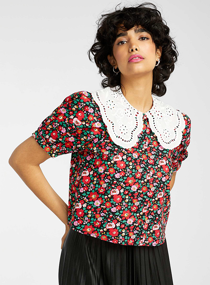 Twik Patterned Black Broderie anglaise mega-collar red floral shirt for women