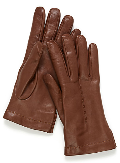Topstitched soft leather gloves