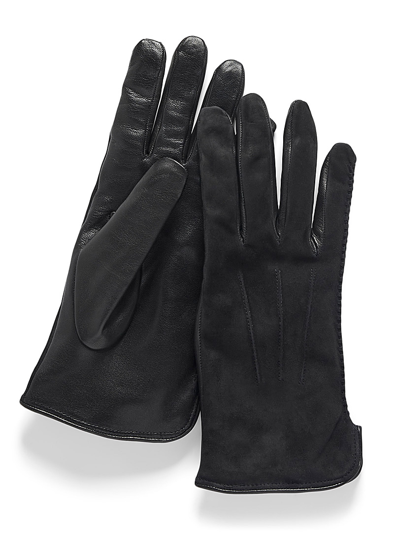 Simons Black Knit cuff mixed-media leather gloves for women