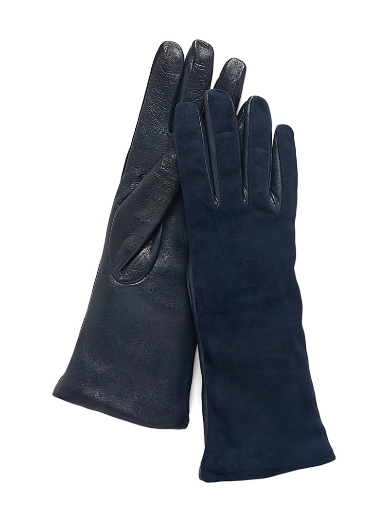 Simons Black Suede and leather gloves for women