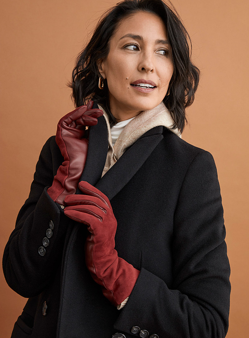 Simons Red Suede and leather gloves for women