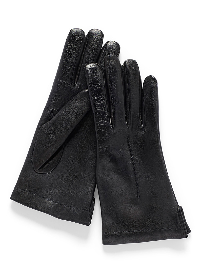 Simons Black Seamed leather gloves for women