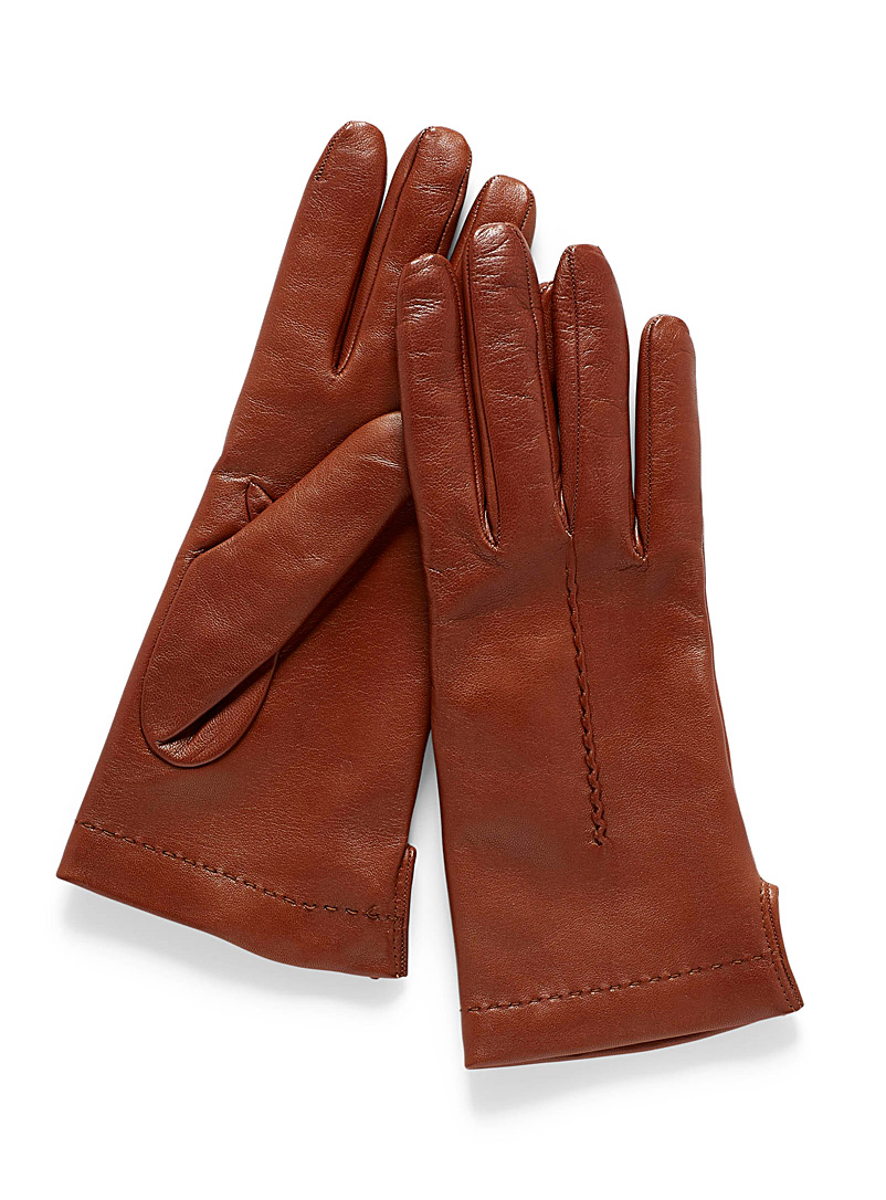 Seamed leather gloves - Leather & Suede - Medium Brown