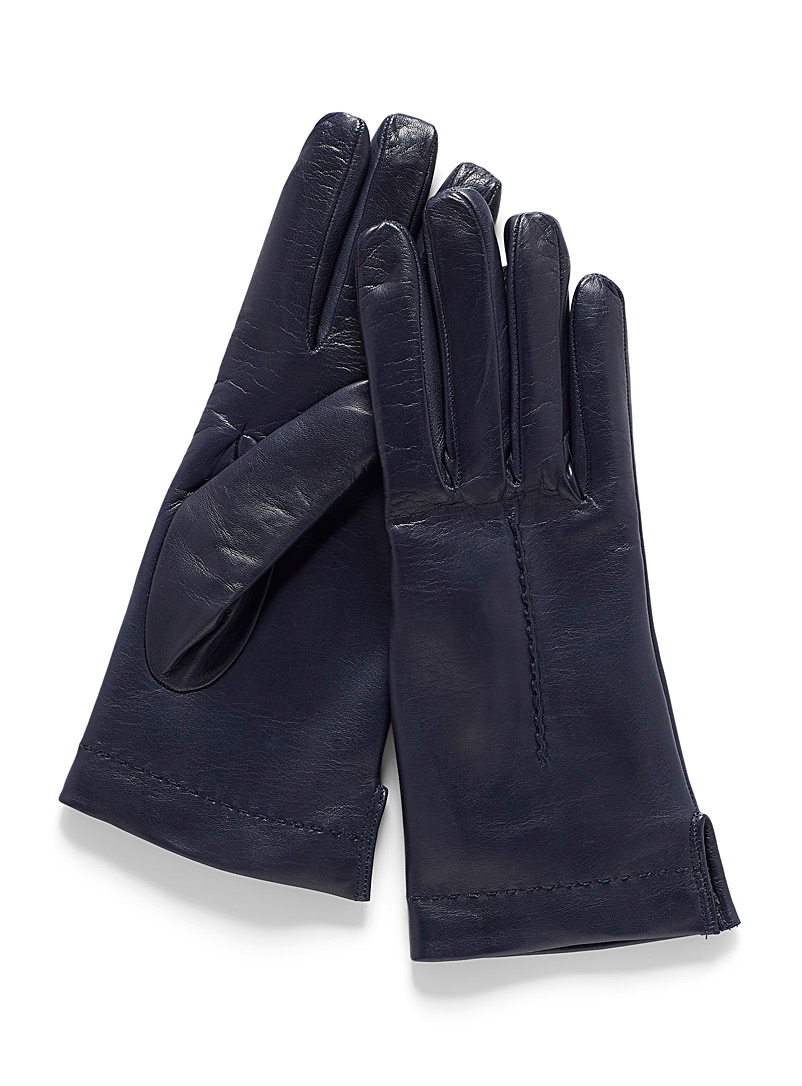 Simons Marine Blue Seamed leather gloves for women