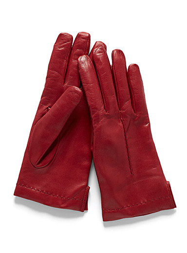 Simons Red Seamed leather gloves for women