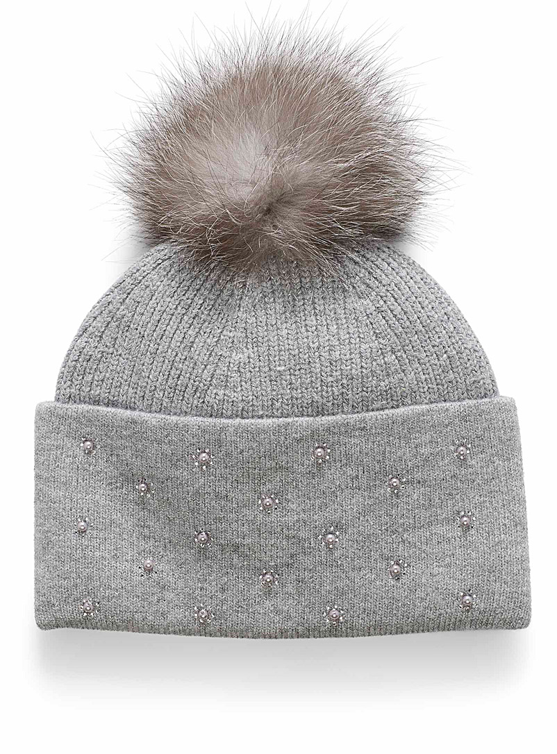 Pearly cuff tuque - Tuques & Berets - Silver