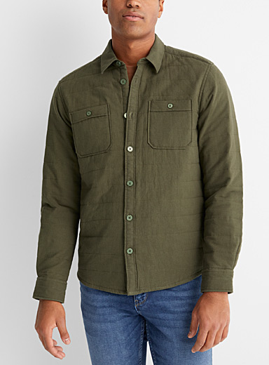 Only & Sons Khaki Quilted overshirt for men