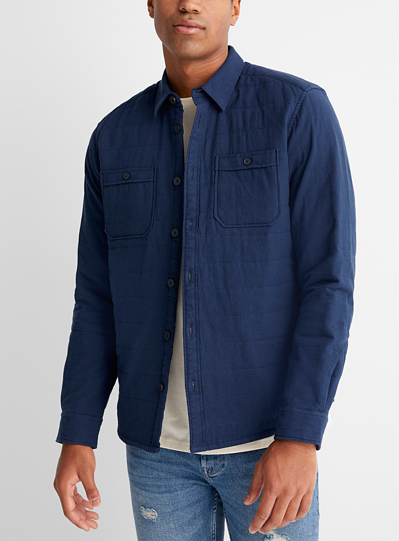 Only & Sons Marine Blue Quilted overshirt for men