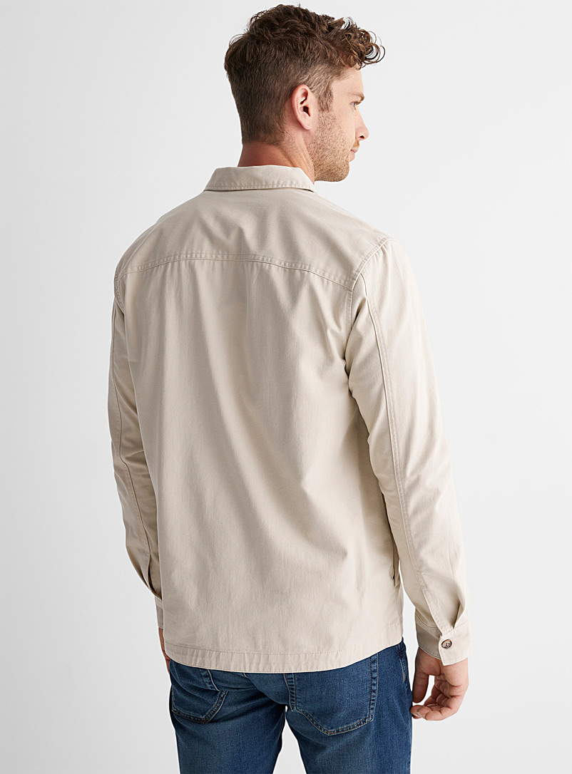 Only & Sons Cream Beige Solid twill overshirt for men