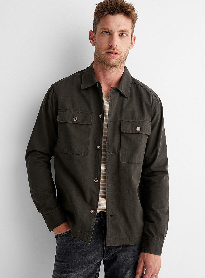 Only & Sons Khaki Solid twill overshirt for men