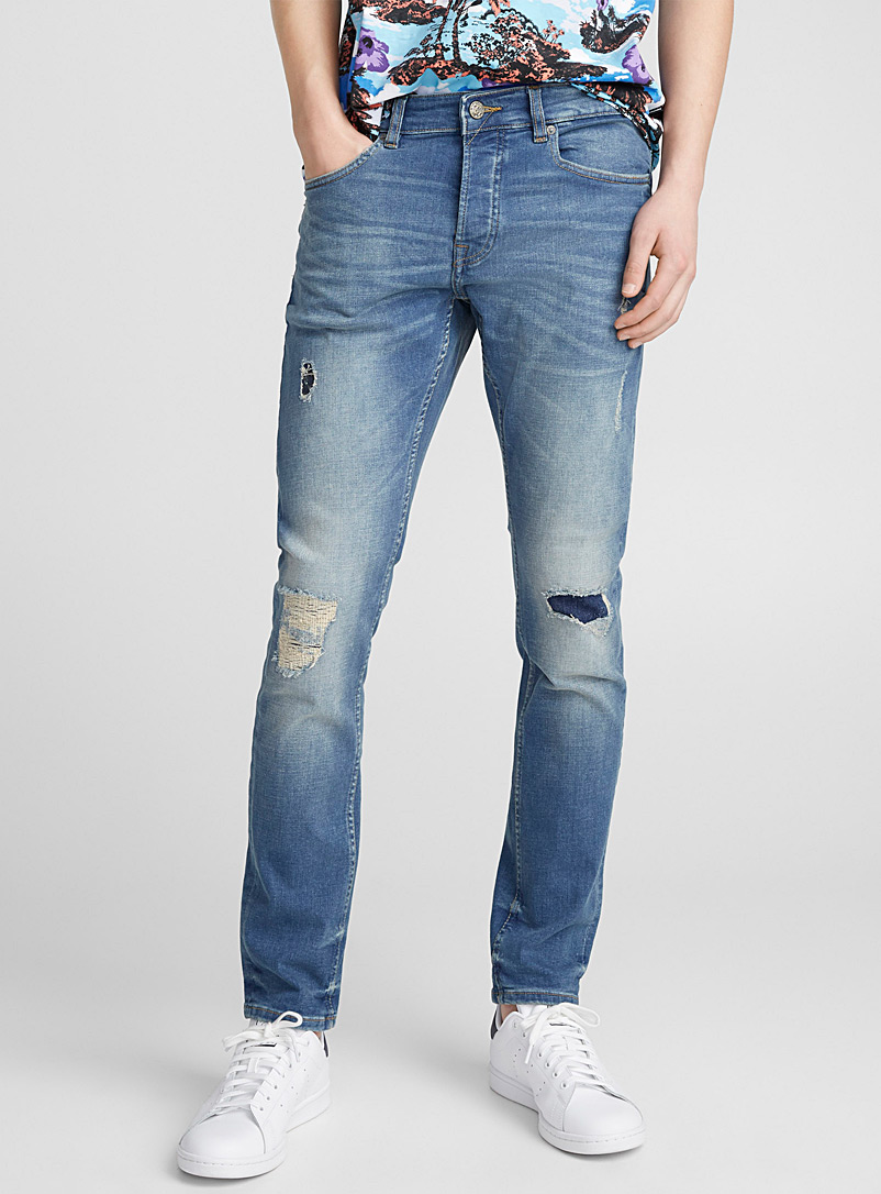Faded patchwork jean  Slim fit - Slim fit - Slate Blue