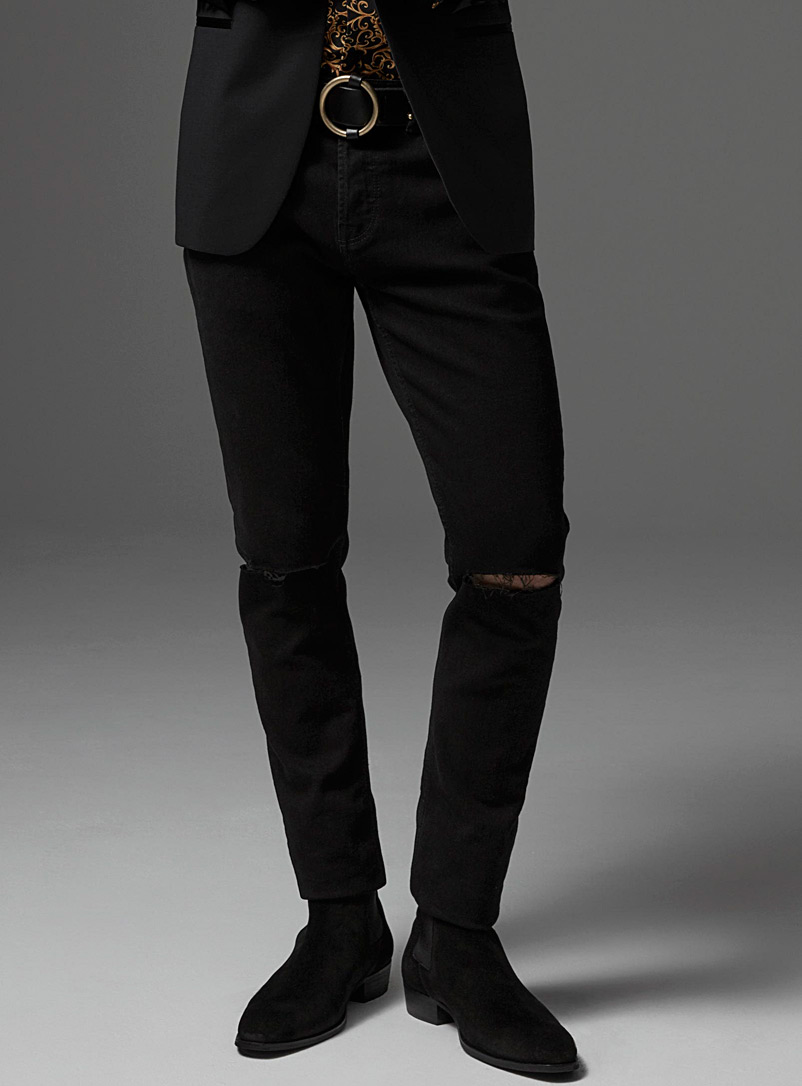 Only & Sons Black Black ripped-knee jean  Skinny fit for men