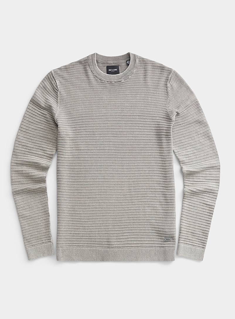 Embossed stripe faded sweater