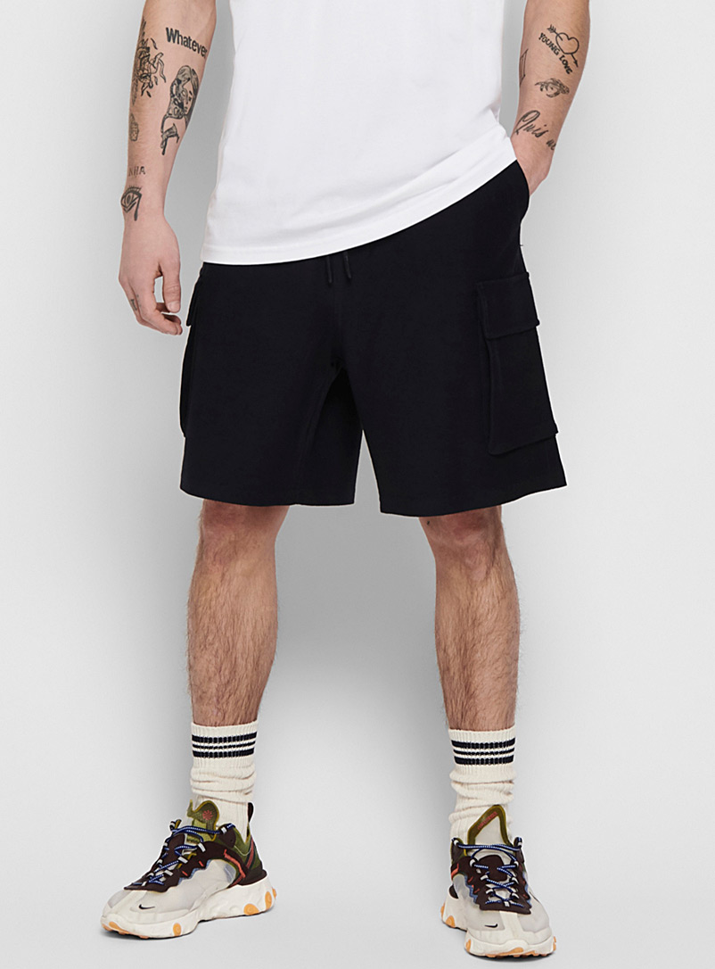 Only & Sons Marine Blue Terry cargo Bermudas for men