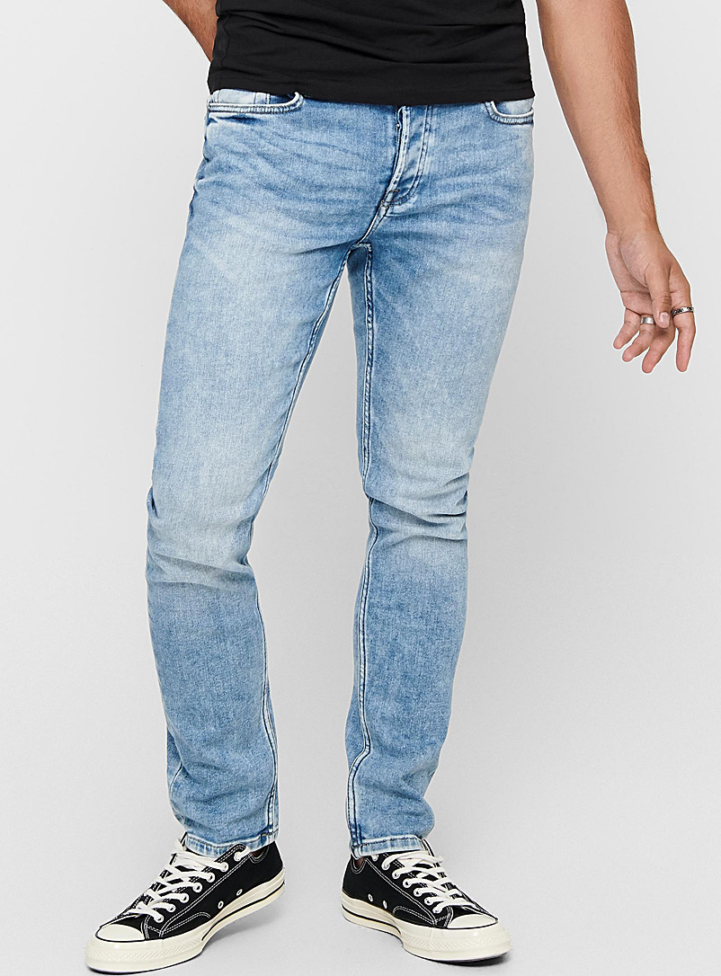 Only & Sons Blue Faded stretch jean  Skinny fit for men