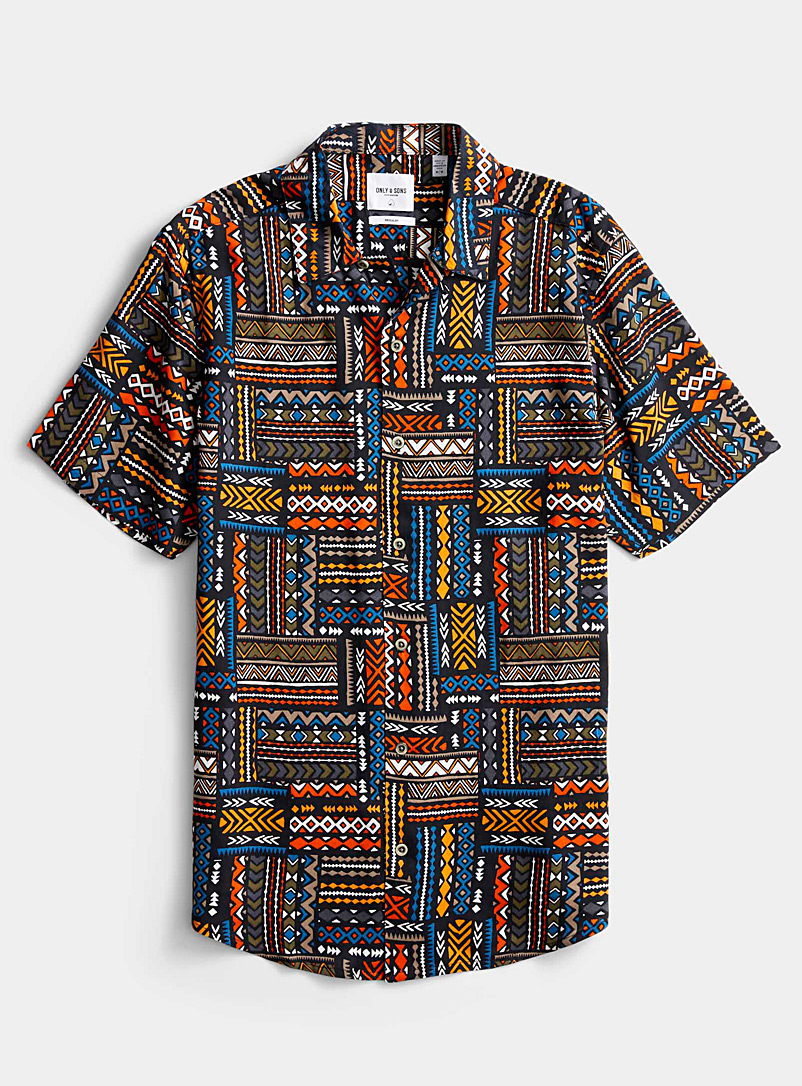 Only & Sons Patterned Blue Fluid African print shirt for men